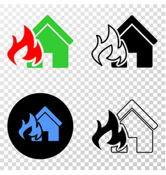 house fire disaster eps icon with contour vector image