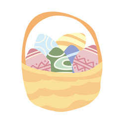 isolated basket of easter eggs on vector image