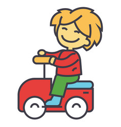 Kid driving big toy car and having fun outdoors vector
