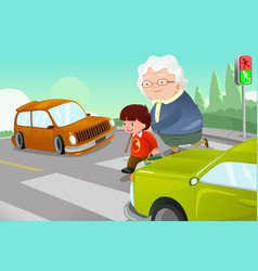 Kid helping senior lady crossing the street vector