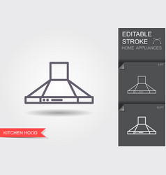 kitchen hood line icon with editable stroke with vector image