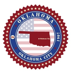 label sticker cards of state oklahoma vector image