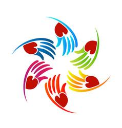 loving caring hands logo vector image