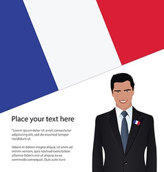 Man wearing suit France flag vector