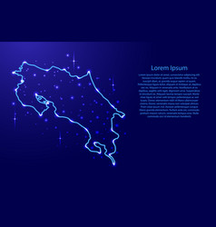 Map costa rica from the contours network blue vector