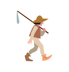 Medieval peasant in hat and with sack vector