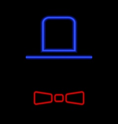 Men hat and tie neon light on a black background vector