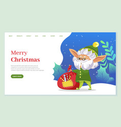 merry christmas old elf with bag sweets web vector image