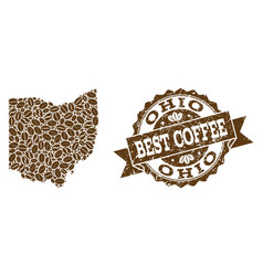 Mosaic map of ohio state with coffee beans and vector