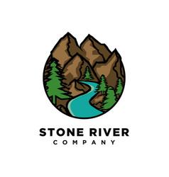 mountain with river logo design vector image