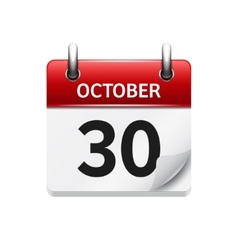 October 30 flat daily calendar icon Date vector image