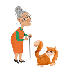 old lady and a cat cartoon character vector image