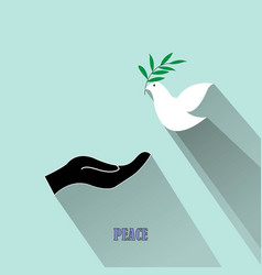 Peace dove with olive branch and black hand isolat vector
