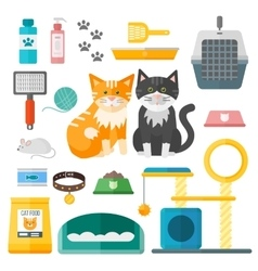 Pet supplies cat accessories animal equipment care vector image
