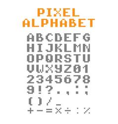 pixel alphabet pixel font vector image