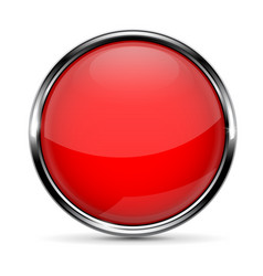 Red round glass button with chrome frame vector