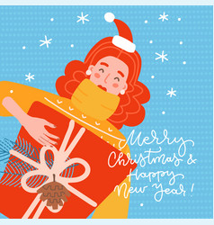 redhead girl young woman holding a gift box new vector image