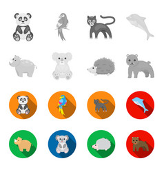 rhino koala panther hedgehoganimal set vector image