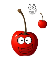 Ripe red happy little cartoon cherry vector image