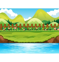 River scene with mountains background vector