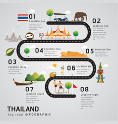 road map and journey route timeline infographics vector image