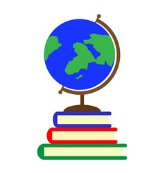 school globe and textbooks vector image