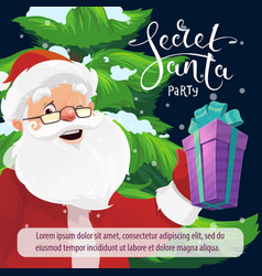 secret santa christmas party invitation with gift vector image