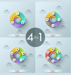 set of 4 infographic design layouts vector image