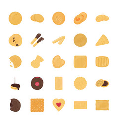 set of cookies flat icons vector image