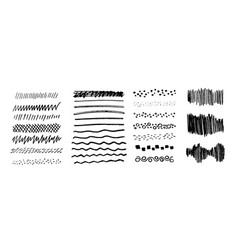 set of grungy graphite pencil art brushes vector image