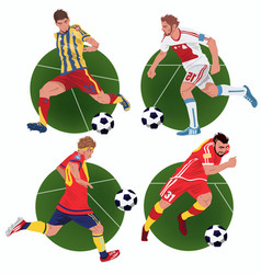 Set of stickers with soccer players vector