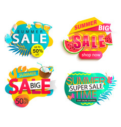 set summer sale stickers vector image