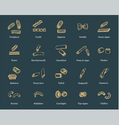 short pastas set drawn vector image
