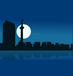 silhouette of mexico city at night scenery vector image