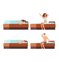 sleeping and wake up man and woman cartoon vector image