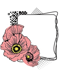 Square frame with flowers at the side vector
