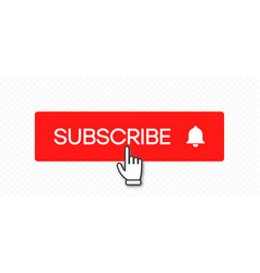subscribe button and hand click pointer cursor vector image