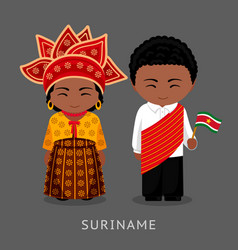 Surinamese in national dress with a flag vector