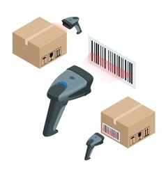 The manual scanner bar codes flat 3d vector