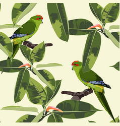 tropical floral print green parrot bird vector image