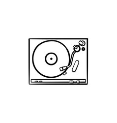 turntable sound mixer hand drawn outline doodle vector image