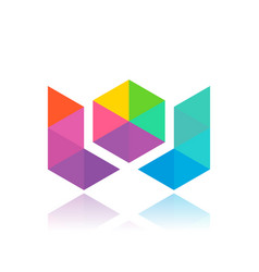 W colorful triangles vector