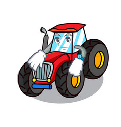 Waiting tractor mascot cartoon style vector