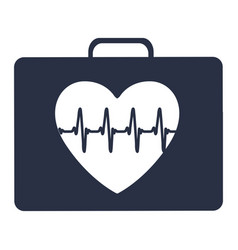 White background with dark blue first aid kit for vector