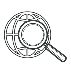 worldwide search globe and magnifying glass vector image