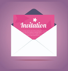 Envelope with invitation card and star shapes vector image