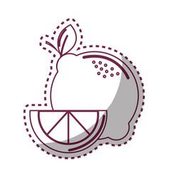 Sticker silhouette lemon fruit icon stock vector