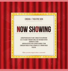 theater sign or cinema sign on red curtain gold vector image