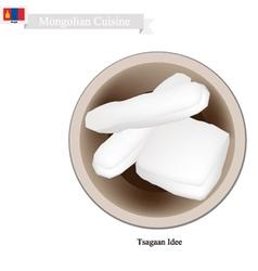 Tsagaan idee or mongolian dried curd cheese vector