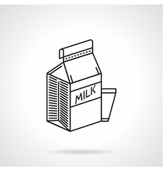 Milk carton black line icon vector image vector image